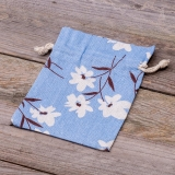 Leinenbeutel Blüten blau